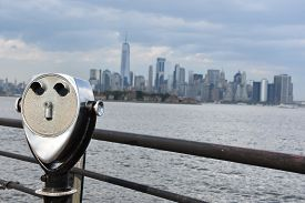 New York, Ny - Aug 4: View Of Manhattan Skyline, From Liberty State Park In Jersey City, New Jersey,