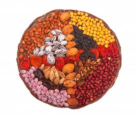 Circle made of nuts and fruits. Hazelnuts peanuts, walnuts, apricots,  almonds, raisins solated on white background.