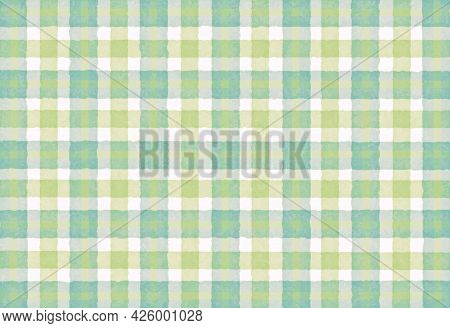 Turquoise Olive Blue Checkered Old Vintage Background With Blur, Gradient And Grunge Texture. Classi
