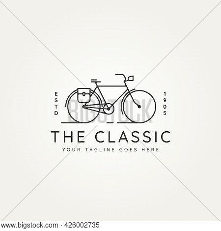 Classic Bike Postman Minimalist Line Art Icon Logo Template Vector Illustration Design. Simple Vinta