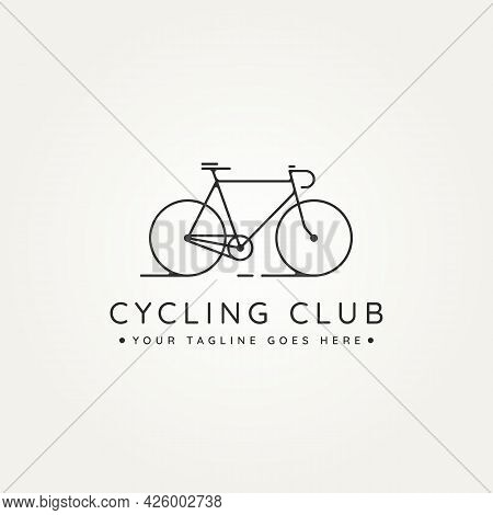 Cycling Club Minimalist Line Art Icon Logo Template Vector Illustration Design. Simple Modern Bicycl