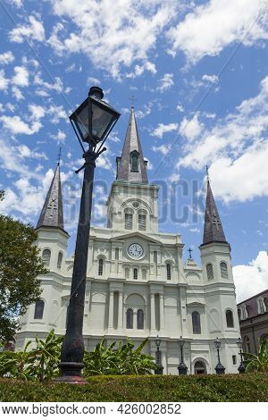 St. Louis Cathedral, As Seen From Jackson Square In The French Quarter Of New Orleans, Louisiana, Us