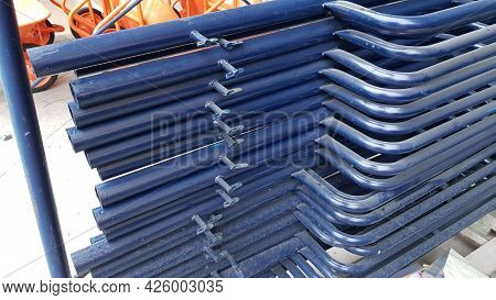Close-up Photo Of Scaffolding Steel Pipe Stacking For Scaffolding Equipment For Installation At Heig