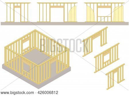 Vector. Wood Frame Of The Simple House On Concrete Foundation. Framed Window And Door Openings. Hous