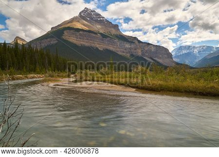 Sunwapta River And Tangle Peak Alberta. Tangle Peak With The Sunwapta River In The Rocky Mountains.