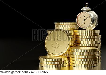 Vintage Alarm Table Clock On A Stack Of Coins In Dark Black Background The Concept Of The Importance