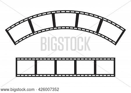 Cinema Strip. Camera Icon. Photo Frame. Vintage Icon With Film Strips. Old Movie Strip. Vector Illus
