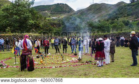 Chobshi, Azuay Province, Ecuador - June 20, 2021: Celebration Inti Raymi At Chobshi Archeological Si