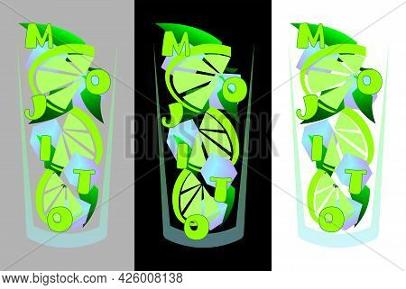 Abstract Mojito Cocktail Logo With Lime, Ice And Leaves
