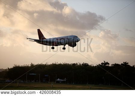 Salvador, Bahia, Brazil - September 22, 2017: Airbus Aircraft Of The Airline Avianca Is Seen During