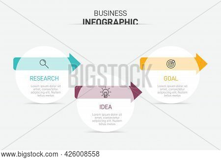 Concept Of Arrow Business Model With 3 Successive Steps. Three Colorful Graphic Elements. Timeline D