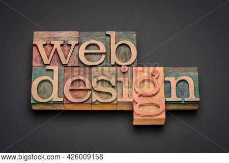 website design - word abstract in letterpress wood type printing blocks, business, internet and service