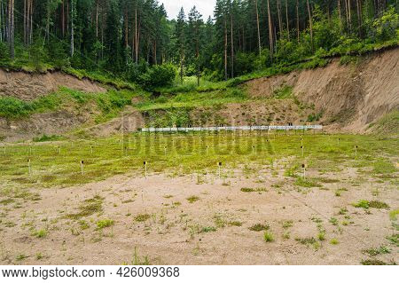 Sports Frontier At A Training Shooting Range In The Middle Of The Forest, With Targets And Targets,