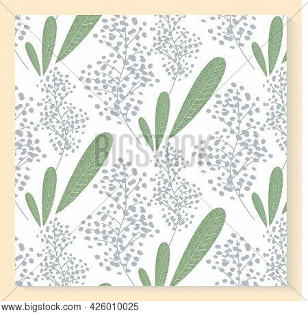 Elegant Floral Siamless Pattern In Small White Flowers. Liberty Style. Ditsy Print. Wild Field Herbs