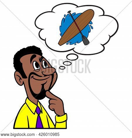 Man Thinking About Paddle Boarding - A Cartoon Illustration Of A Man Thinking About Paddle Boarding