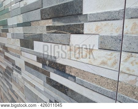 Background With Full Frame Of Wall Tiles. Neat Arrangement Of Walls Tiles That Look Natural With A M