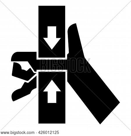 Caution Hand Crush Force From Top And Bottom Symbol Sign