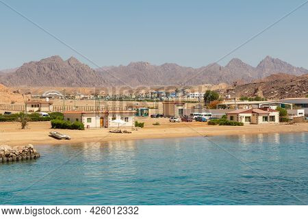 Sharm El Sheikh, Egypt - June 7, 2021: Service Centers For Tourist Boat Trips And Diving In The Bay