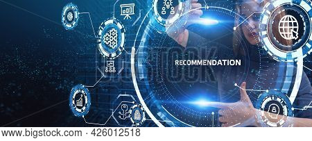 Business, Technology, Internet And Network Concept. The Word Recommendation On The Virtual Screen