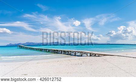Landscape With Boardwalk At The Coastline Of Platja De Muro In Alcudia Bay, Majorca Island, Spain