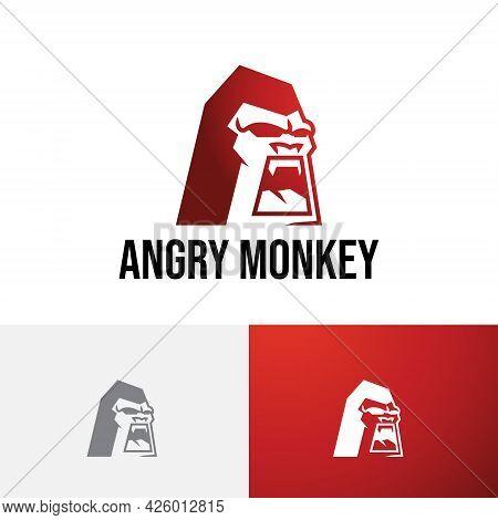 Angry Monkey Wild Cranky Gorilla Ape Head Logo