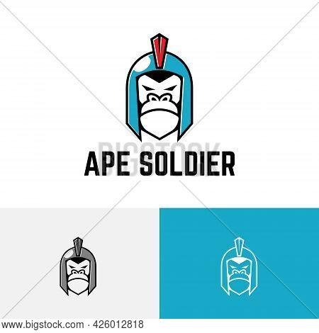 Ape Soldier Spartan Gorilla Helmet Monkey War Game Logo