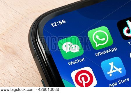 Ostersund, Sweden - Mars 24, 2021 WeChat icon on a smartphone. WeChat is a Chinese multi-purpose messaging, social media and mobile payment app