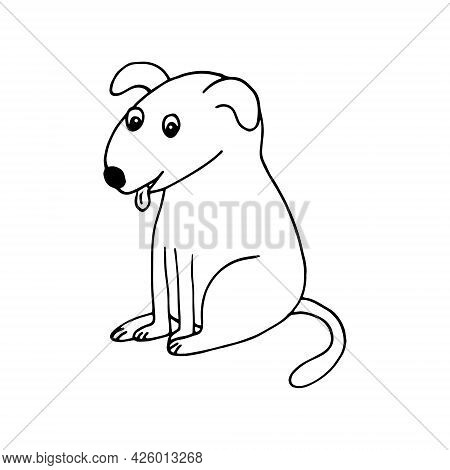 Dog Icon. Hand Drawn Doodle. Vector, Scandinavian, Nordic, Minimalism, Monochrome. Pet, Animal, Cute