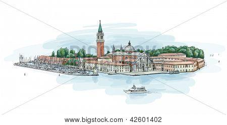 Venice - Island of San Giorgio Maggiore. Bitmap copy my vector