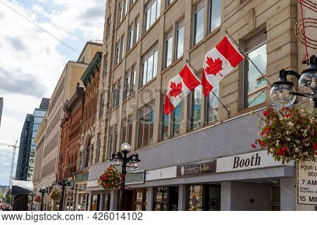 Sparks Street View With Canadian Flags On Buildings In Downtown District Of Ottawa In Canada