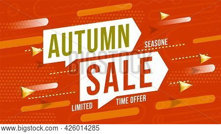 Autumn Season Sale Limited Time Offer Poster Design Template. Promotion Web Banner Or Print Advertis