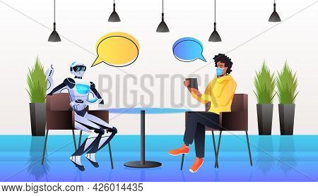 Businessman In Mask Discussing With Robot During Meeting Chat Bubble Communication Artificial Intell
