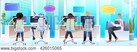 Businesspeople And Robot Working On Computers Chat Bubble Communication Artificial Intelligence Team