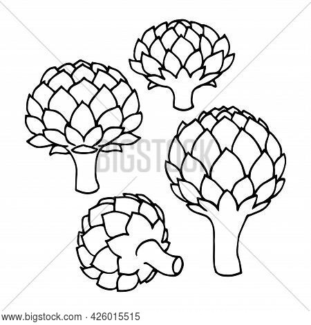 A Set Of Artichoke Buds, Elements Of A Decorative Ornament Or Pattern, A Vector Illustration With Bl