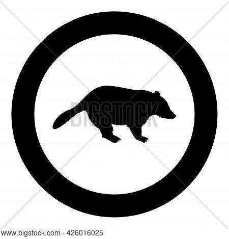 Badger Animal Wild Meles Taxus Predatory Mammal Family Kunihih Carnivore Silhouette In Circle Round
