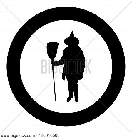 Fairy Wizard Witch Holding Broom Subject For Halloween Concept Silhouette In Circle Round Black Colo