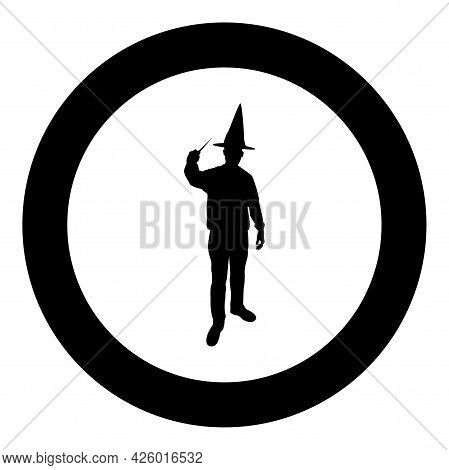 Wizard Holds Magic Wand Trick Waving Sorcery Concept Magician Sorcerer Fantasy Person Warlock Man In