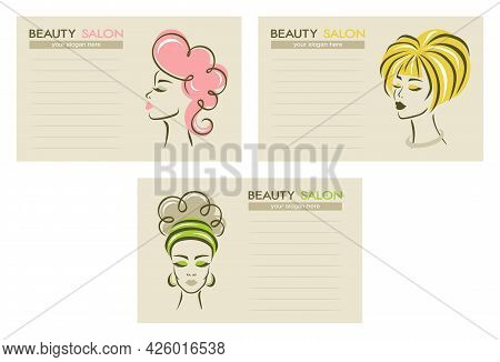 Set Of Beauty Salon Business Cards. Face Of A Beautiful Woman On A Light Beige Background, Lines For