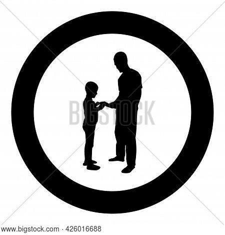 Man Transmits Thing To Boy Father Male Give Book Gadget Smartphone Son Children Take Something Dad R