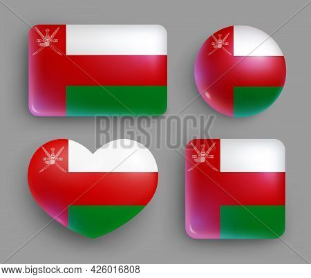 Set Of Glossy Buttons With Oman Country Flag. Western Asia Country National Flag, Shiny Geometric Sh