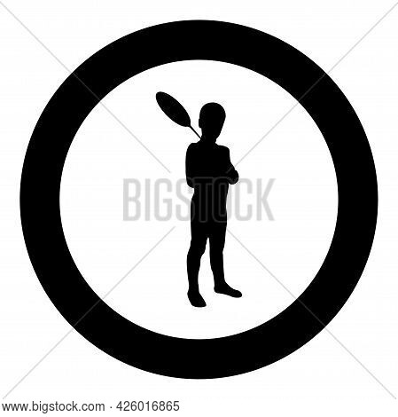 Boy Holds Badminton Racket Cute Young Child Holding Standing Toy Shuttlecock Happy Concept Teenage A