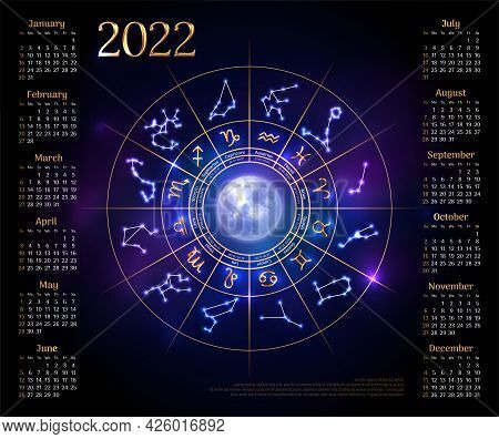 Wall Calendar Layout For 2022 Year With Zodiac Signs. Week Starts Sunday Calendar Design With Glowin