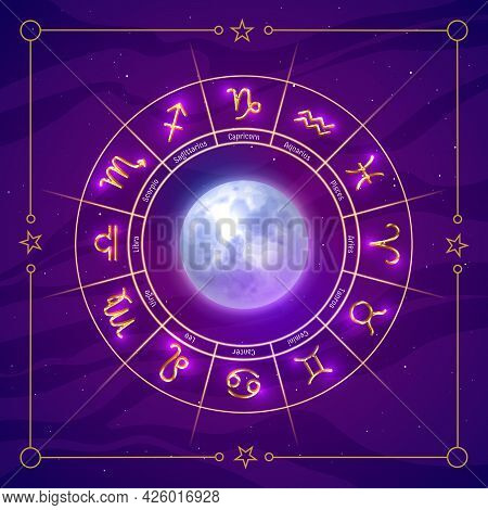Zodiac Symbols Wheel Glowing Signs And Moon Inside. Astrology Prediction Banner, Poster, Card, Backg