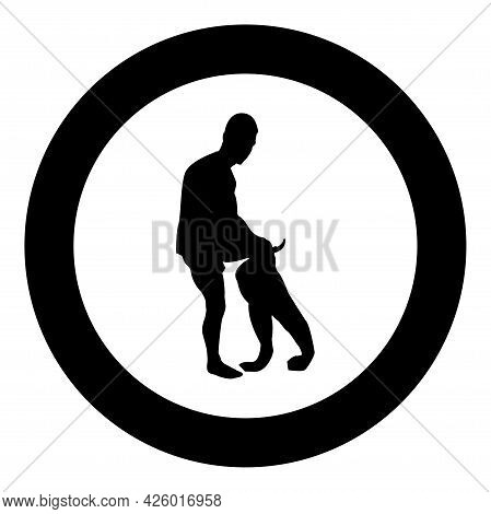 Man Dressing Pant Clothes Concept Put On His Trousers Silhouette In Circle Round Black Color Vector