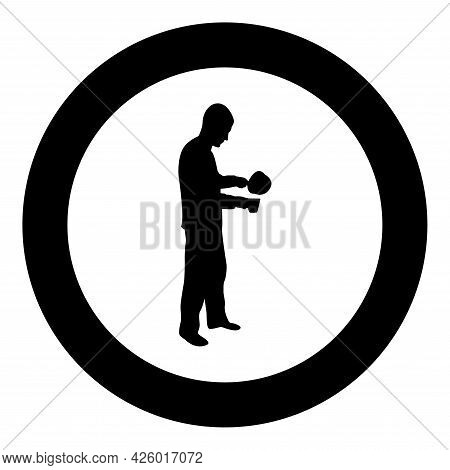 Man With Saucepan In His Hands Preparing Food Male Cooking Use Sauciers Water Poured In Mug Silhouet