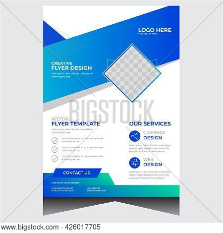 Blue Promotional Company Business Flyer Design Template