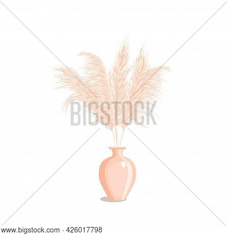 Pampas Grass In Vase Isolated On White Background . Dried Floral Ornament Elements In Boho Style. Ho