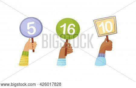 Human Hands Of Different Skin Color Holding Score Tables Vector Set