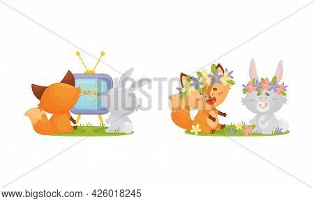 Humanized Fox And Hare Engaged In Different Activity Watching Film And Wearing Floral Wreath Vector
