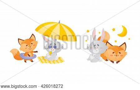 Humanized Fox And Hare Engaged In Different Activity Sleeping And Resting On Beach Vector Set